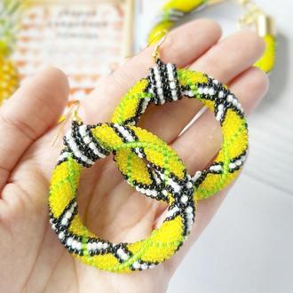 Желтые Лимонные серьги кольца из бисера В стиле барберри