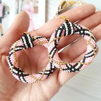 Розовые  серьги кольца из бисера В стиле Барберри