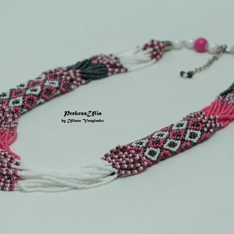 Етно-намисто Вишиванка біло-рожева