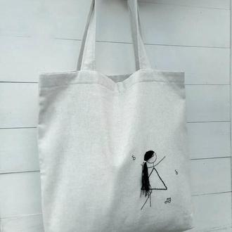 Эко- сумка с вышивкой, шоппер, сумка для покупок