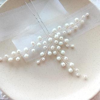 Белая шпилька для прически невесты