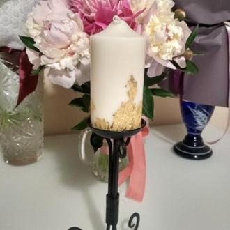 Натуральна свічка із золотим напиленням, свеча