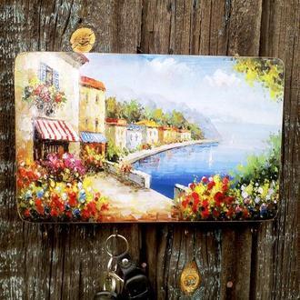 Настенная ключница в прихожую Морской пейзаж Вешалка для ключей Ключница-органайзер Морская тематика