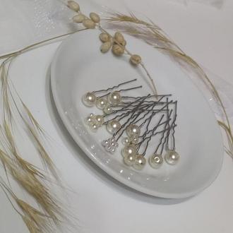 Шпильки в прическу.Свадебное украшение в прическу.Жемчужные шпильки.