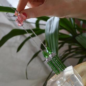 Серьги - цепочки  зеленые с турмалиновым кварцем ′Пробуждение′