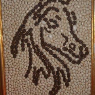 Картина лошади из кофе и фасоли