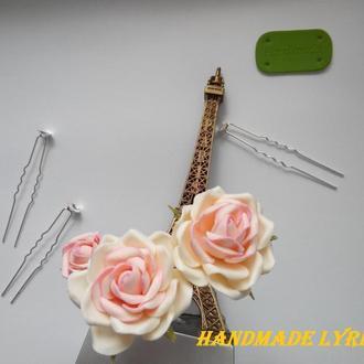 """Набір шпильок """"Кремово-рожеві троянди"""""""