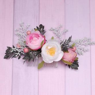 Гребень гребешок с цветами для праздничной прически