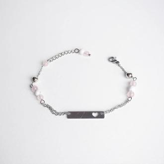 Тонкий браслет-цепочка с розовым кварцем (модель № 298) JK jewelry