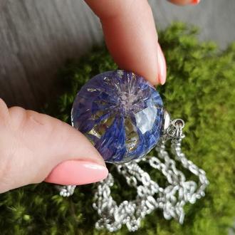 Васильки, кулон с цветком, голубой цветок