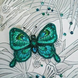 Брошь  Малахитовая бабочка