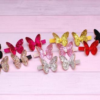 Модные стильные заколки бабочки из экокожи