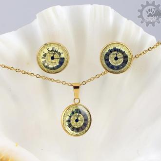 Время золото- набор с настоящими циферблатами от часов в стальной оправе в стиле steampunk