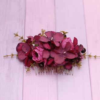 Гребень гребешок в цвете марсала