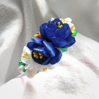 Обруч из лент Синие крокусы