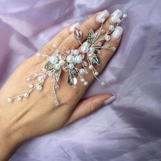 Свадебная веточка в розовых тонах в прическу