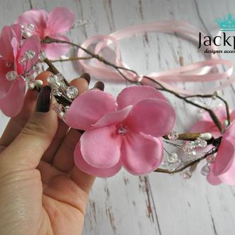 Розовый венок на голову цветы и хрусталь