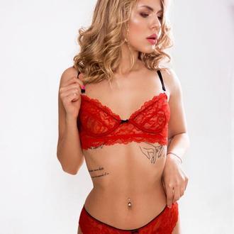 Комплект нижнего белья с кружева. Красный кружевной комплект с косточками - Lacy Classic