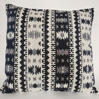 Декоративная Богемная интерьерная Марокканская Бохо подушка с темно сине-белым восточным орнаментом