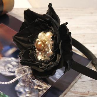 Обруч для волос с черной розой из фоамирана, украшение для волос для детей и взрослых