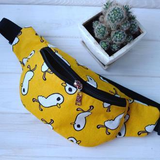 Сумка-бананка с птичками, поясная сумка 20//Сумка-бананка з пташками, поясна сумка 20