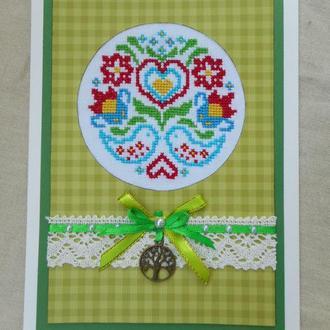 Вітальна листівка з вишивкою