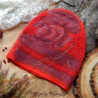 Шапка трансформeр стильна чeрвона шапочка