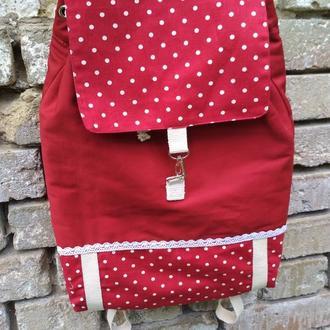 Стильный хлопковый рюкзак красный в горошек