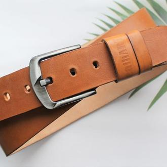 Мужской ремень для джинсов коричневый