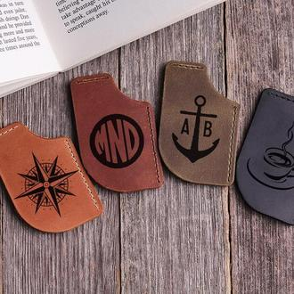 Подарочный набор из 4х кожаных закладок-уголков ручной работы с любой Вашей гравировкой