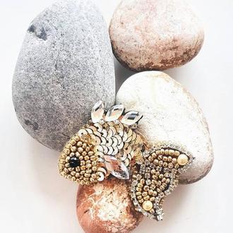 Украшение Золотая рыбка (брошь)