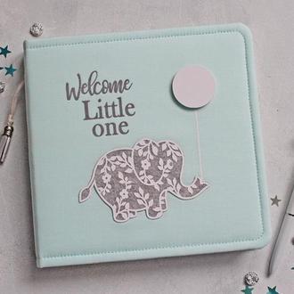 Дитячий альбом зі слоником, Альбом для мальчика, Подарунок для немовлят, Подарунок на хрестини