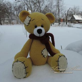Мишка Тедди мягкая вязаная игрушка
