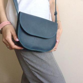 Шкіряна сумочка в блакитному кольорі (жіноча сумка)
