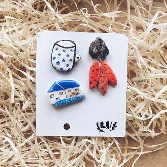 Комплект керамических значков/брошей