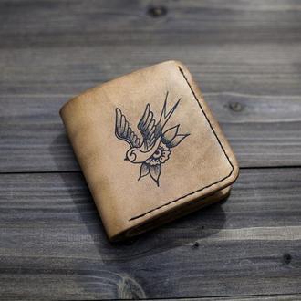 """Шкіряний гаманець з татуюванням """"Ластівка"""""""