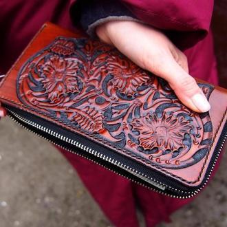 Женский кожаный кошелек цветы, женский кошелек на змейке, кошелек на змейке, кошелек с тиснением