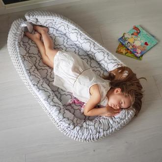 Гнездышко (кокон, бебинест, дорожная кроватка) Moroccan Grey Minky
