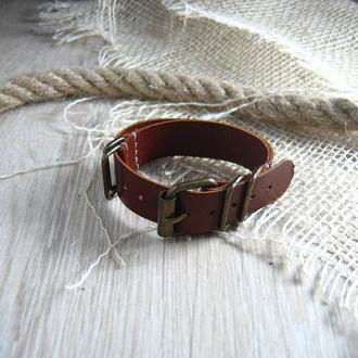 Винтажный кожаный ремешек для часов Zulu Nato. 20 мм. Подарок мужчине