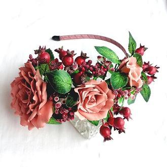 Обруч для волос с цветами«Коралловая Чайная Роза»