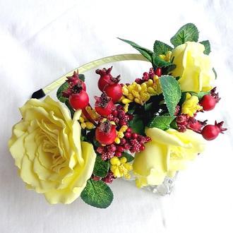 Обруч для волос с цветами  «Ванильная Чайная Роза»