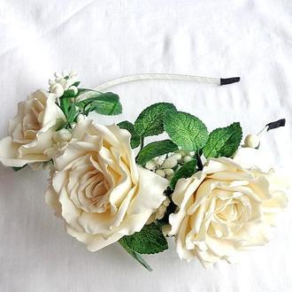Обруч для волос с цветами  «Кремовая Чайная Роза»