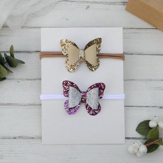 Повязки с бабочками для девочки в подарок, Заколки для малышки