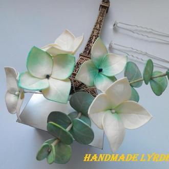Шпильки для волос с листьями эвкалипта и цветами гортензии