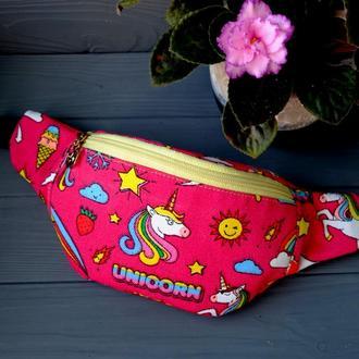 Сумка-бананка с единорогом, поясная сумка 24//Сумка-бананка з єдинорогом, поясна сумка 24