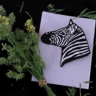 Брошь вышивка зебра большая брошка украшение аксессуар женский тотем