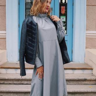 Нарядное платье миди, ворот стойка