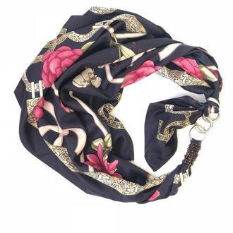 """Розы и жемчуг""  атласный шарф, платок, шарф-колье, шарф-чокер, шейный платок"