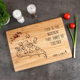 Кухонная доска из дерева с гравировкой «Пицца»