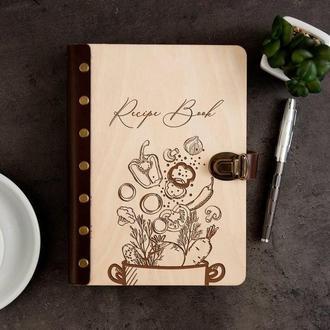 Книга для записей кулинарных рецептов в деревянной обложке «Recipe Book»